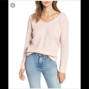 NWT Astr The Label Pink Twist Back Sweater Size XL